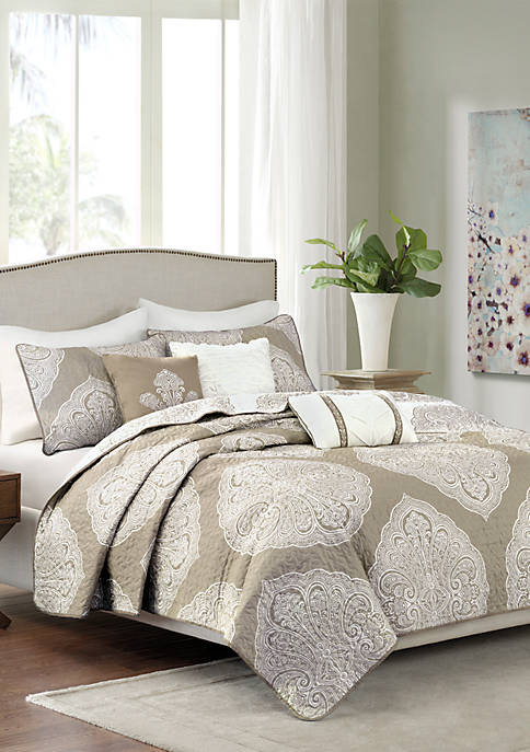 Madison Park Rachel 6-Piece Reversible Quilted Taupe Coverlet