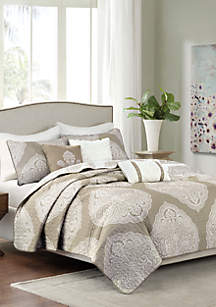 Rachel 6-Piece Reversible Quilted Taupe Coverlet Set