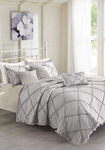 Madison Park Rosie 6-Piece Grey Coverlet Set