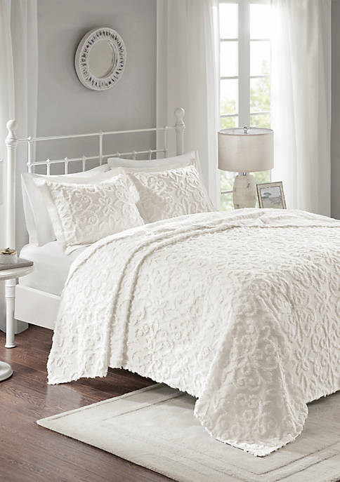 Madison Park Sabrina 3-Piece Cotton Chenille White Bedspread