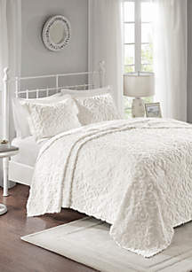 Madison Park Sabrina 3-Piece Cotton Chenille White Bedspread Set