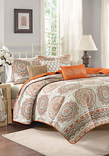 Madison Park Tangiers 6-Piece Orange Coverlet Set