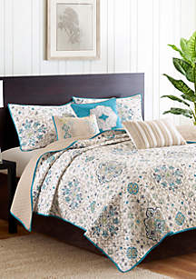 Madison Park Tissa 6-Piece Teal Coverlet Set
