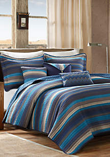 Madison Park Yosemite 6-Piece Quilted Coverlet Set- Blue