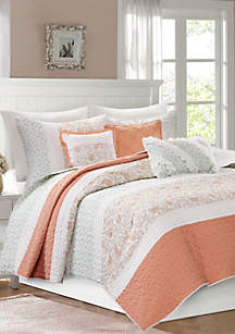 Madison Park Dawn 6-Piece Cotton Percale Quilted Coverlet Set