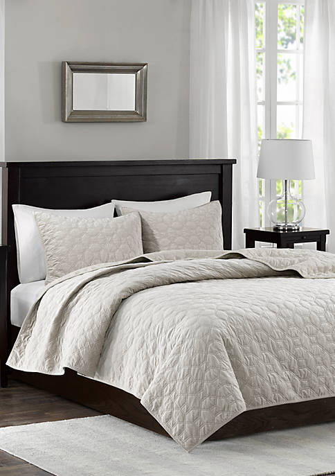 Madison Park Harper Velvet Ivory 3-Piece Coverlet Set