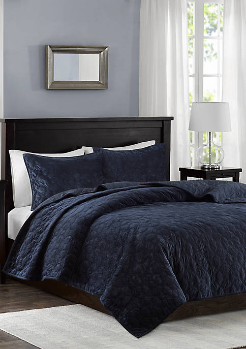 Madison Park Harper Velvet Navy 3-Piece Coverlet Set