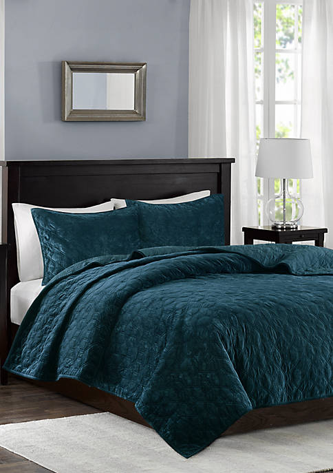 Madison Park Harper Velvet Teal 3-Piece Coverlet Set