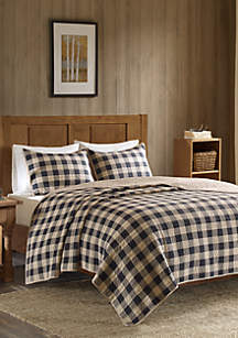 Buffalo Check Oversized Quilt Tan 3 Piece Mini Set