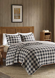 Buffalo Check Oversized Quilt Gray 3 Piece Mini Set