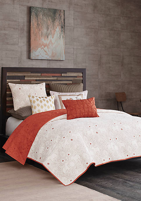 INK + IVY® Kandula 3-Piece Coral Coverlet Mini