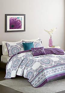 Intelligent Design Anika Coverlet Set - Purple