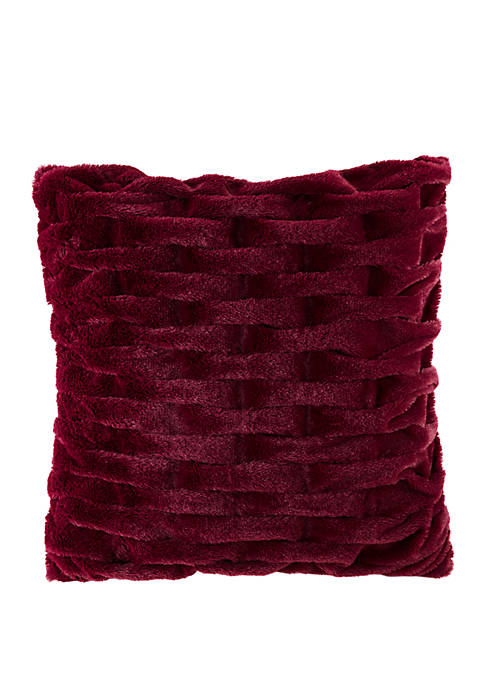 Ruched Fur 20 in x 20 in Square Pillow