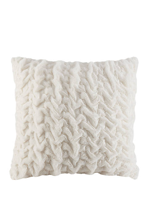 Ruched Fur 25 in x 25 in Euro Pillow