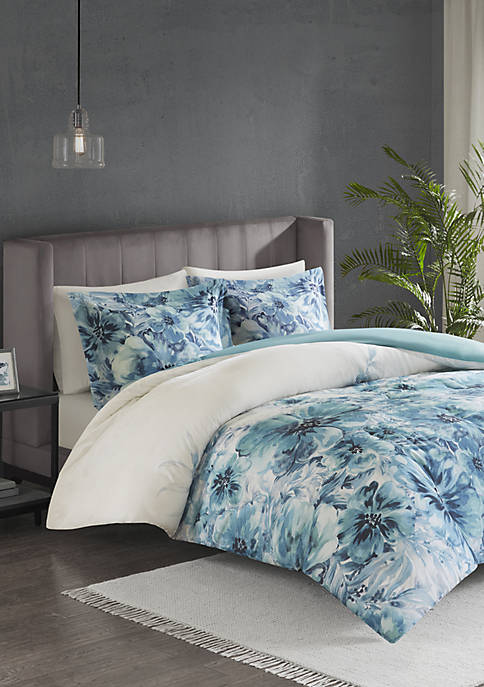 Madison Park Enza 3 Piece Cotton Printed Duvet
