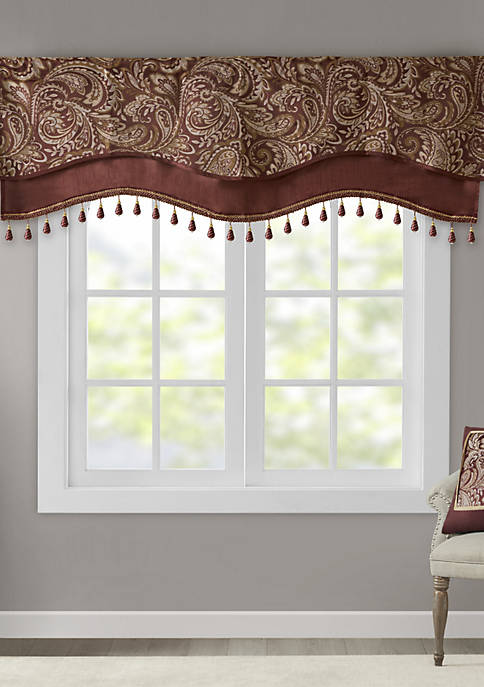 Madison Park Aubrey Jacquard Window Rod Pocket Valance
