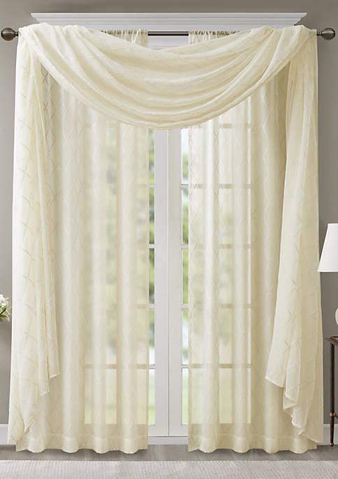 Madison Park Irina Diamond Sheer Embroidered Window Scarf