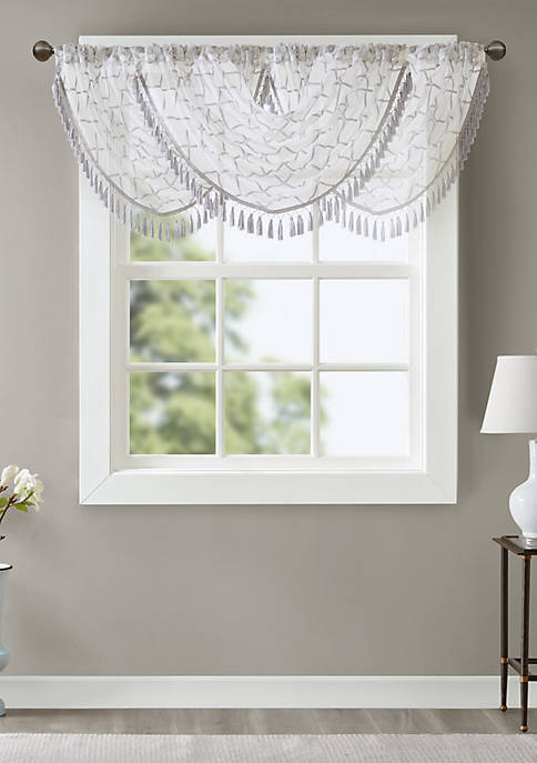 Madison Park Irina Diamond Sheer Embroidered Waterfall Valance