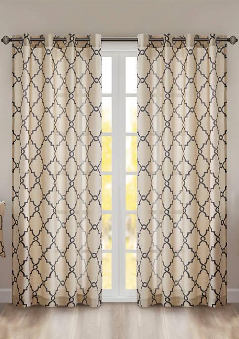 Saratoga Fretwork Print Grommet Top Window Curtain