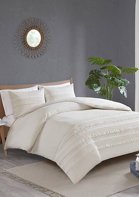 Madison Park Amaya 3 Piece Cotton Seersucker Duvet