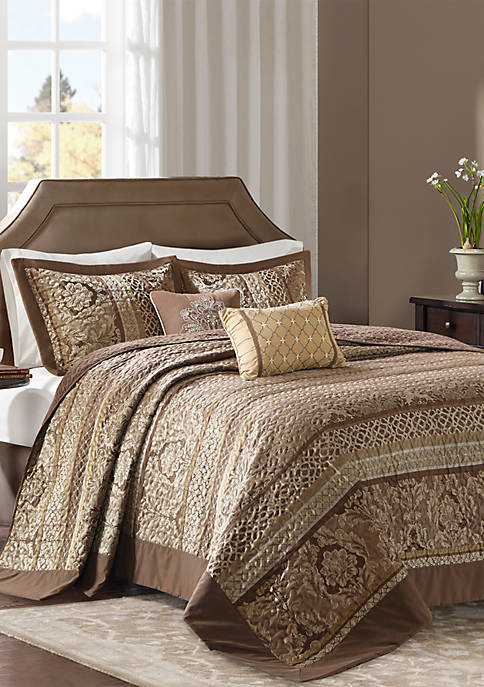 Madison Park Bellagio 5 Piece Reversible Jacquard Bedspread