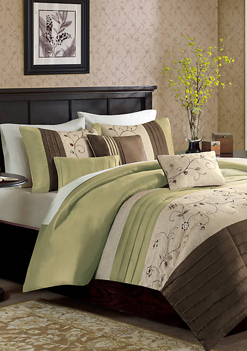 Madison Park Serene Embroidered 6 Piece Duvet Cover