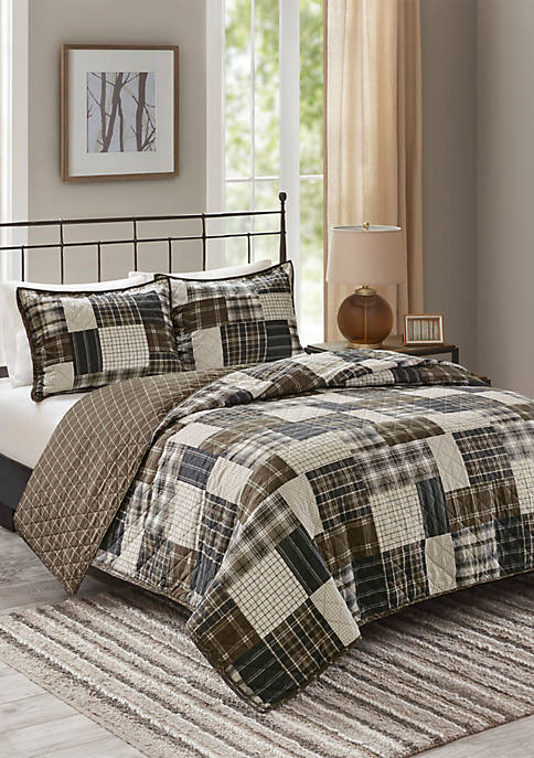 Timber 3 Piece Reversible Printed Coverlet Set