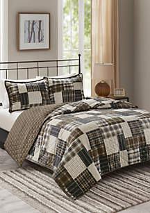 Madison Park Timber 3 Piece Reversible Printed Coverlet Set