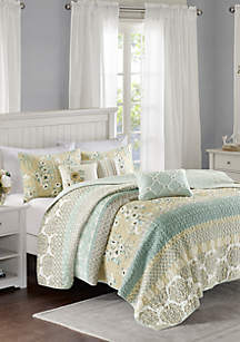 Madison Park Willa 6 Piece Reversible Coverlet Set