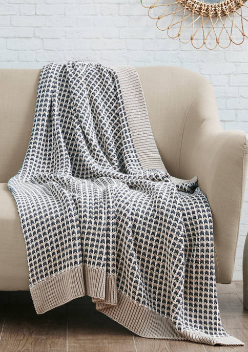 Intelligent Design Reed Cotton Knit Throw