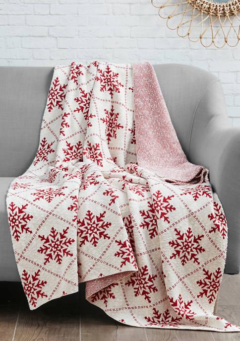 Intelligent Design Snowflake Cotton Knit Throw