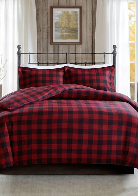 Flannel Check Print Cotton Duvet Cover Set