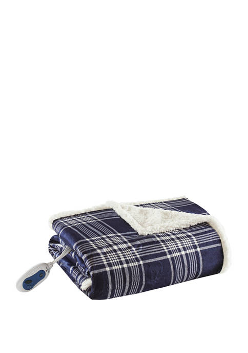 Beautyrest Ridley Oversized Plaid Print Faux Mink to