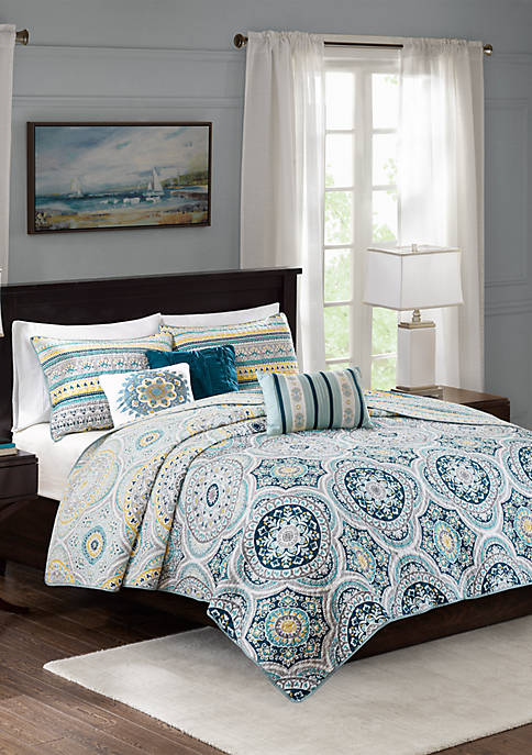 Mercia 6-Piece Reversible Cotton Sateen Coverlet Set