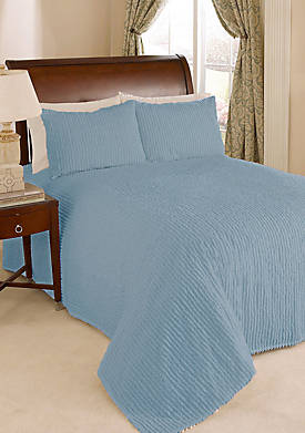 Channel Cotton Chenille Bedspread Blue King