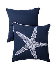 Panama Jack® Embroidered Decorative Starfish Button Pillow
