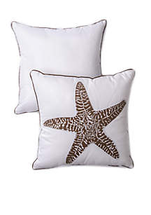 Embroidered Decorative Starfish Neutral Pillow