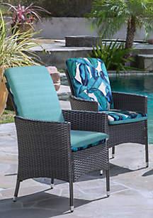 Commonwealth Home Fashions Aqua Tropical High Back Patio Cushion