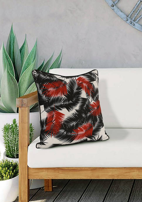 Ruby Red Feather Palms Patio Cushion