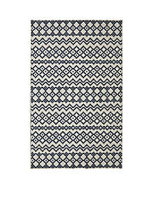 Aztec Bands Denim Area Rug