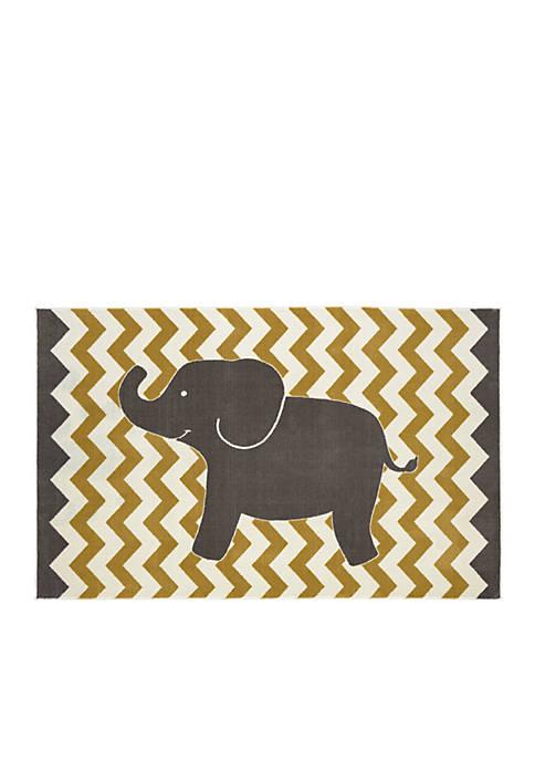 Yellow Lucky Elephant Area Rug