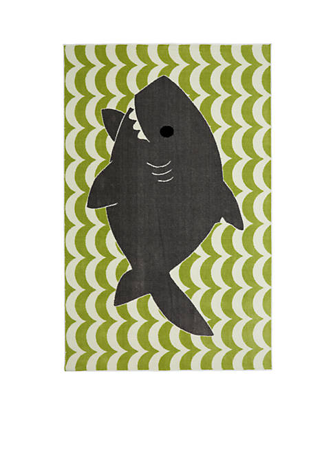Mohawk Home Smiling Shark Lime Green Area Rug