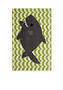 Smiling Shark Lime Green Area Rug