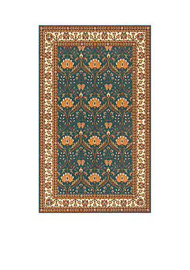 Persian Garden Meadow Teal Blue Area Rug 2 x 3