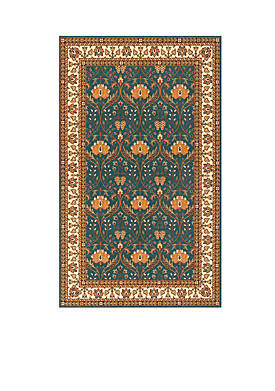 Persian Garden Meadow Teal Blue Area Rug 3 x 5