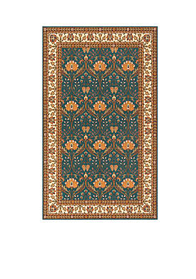 "Persian Garden Meadow Teal Blue Area Rug 26"" x 8"