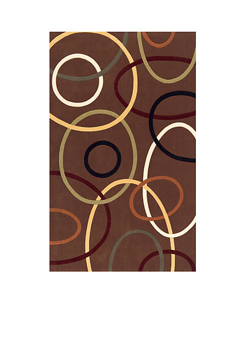 Momeni Elements Ovals Brown Area Rug 3 x