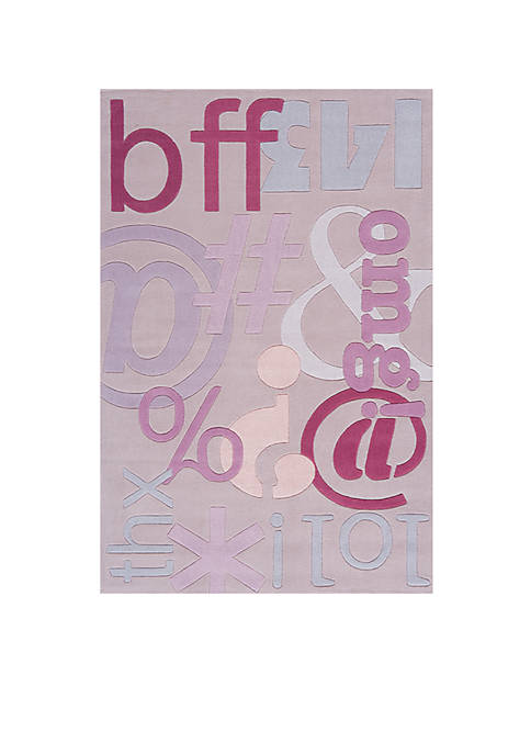 Lil Mo Hipster Text Area Rug 2 x 3