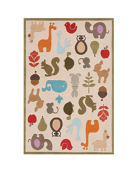 Lil Mo Critter Beige Area Rug 3 x 2