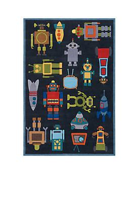 Lil Mo Robots Area Rug 4 x 6